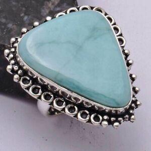 Amazonite Ethnic Handmade Ring Jewelry US Size-8 AR 41992