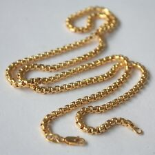 AU750 Pure 18k Yellow Gold 3.5mm W Hollow Box Link Chain Necklace/20.3g / 24inch
