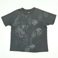Destroyed Vtg Harley Davidson Wolf Paw TShirt XL Faded Black Distress USA Grunge
