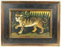 Vintage Original Naive Folk Art TIGER Animal Painting on Board Signed EDEN