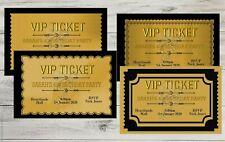 Personalised VIP Ticket Black &Gold  Birthday Invitations Party Invite +Env
