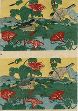 """véritable estampe japonaise originale de Hiroshige III """"fleurs et oiseau"""""""