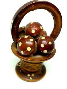 """Vintage Hand Carved Wooden Mushroom basket Sculpture 3""""x2"""" Decoration ART Rare"""