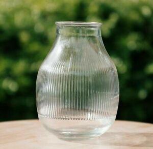 Reeded Glass Stem Vase Small ribbed Jar Vase Dried Or Fresh Flower Arrangements