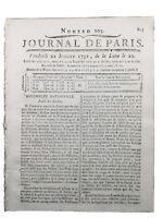 Fusillade du Champs de Mars à Paris 1791 Loi Martiale Rare Journal Révolution