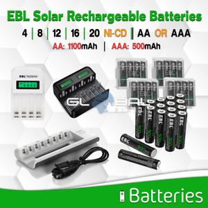 EBL Solar Batteries AA / AAA NiCD Rechargeable 4/8/16/20 1100/500 mAh lot Garden