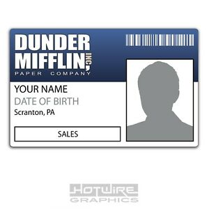 PERSONALISED Printed Novelty ID- Dunder Mifflin Paper American Office - TV Show