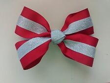 NEW RED/SILVER MEDIUM HAIR BOW POP-OPEN HAIR PIN (HANDMADE)