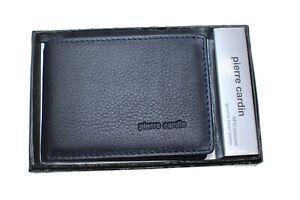 New Pierre Cardin Mens Genuine Italian Leather Boifold Wallet RFID Navy Black