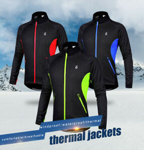 Winter Cycling Jacket for Men Thermal Fleece Windproof Jacket Running Biking US