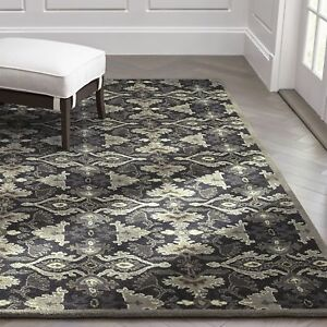 Crate & Barrel Delphine Black 5' x 8' Handmade 100% Woolen Area RUGS & Carpet