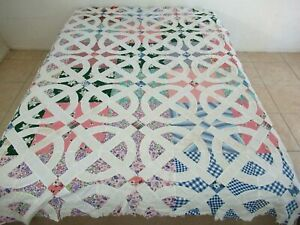 Vintage WASHBURN CROSBY Feed Sacks Hand Pieced CROSS ROADS (To Texas) Quilt TOP