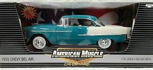 BEL AIR 1955 CHEVY BLUE / WHITE CHEVROLET 1/18 DIECAST CAR ERTL AM MUSCLE#33759