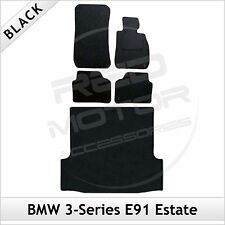 BMW 3-Series E91 Estate 2005-2013 2-Clip Tailored Carpet Car & Boot Mats BLACK