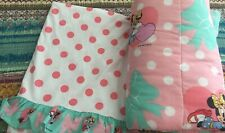 Vintage Minnie Mouse Twin Comforter/Flat Sheet Hearts & Bows Polka Dots Pink