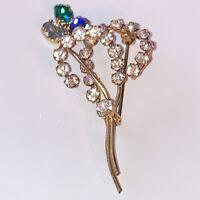 Vintage Costume Jewellery Crystal Rhinestone Flower Gold Tone Brooch