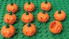 Lego X10 Jack O' Lantern Mini Figures Pumpkin Headgear with Green Stem Pattern
