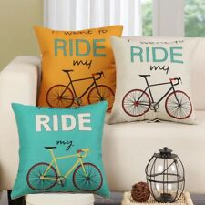 Cool Retro Bicycle Cushion Cover Cycling Road Bike Design Throw Pillow 45x45cm
