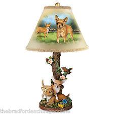 Linda Picken Backyard Buddies Chihuahua Dog Art Table Lamp With Sculpted Base
