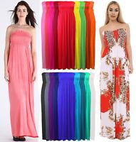 Women Sleeveless Boobtube Bandeau Maxi Ladies Sheering Long Dress Size 8-26