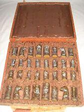 Vintage Spanish Pewter Bust Chess Set - Christians v Moors - 1950s Artisan Craft