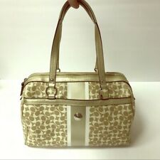 Coach Bag Chelsea Heritage Signature Satchel Cream Ivory Gold Block Fancy Purse