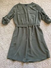 Mossimo Casual 3/4 Sleeve Dress in Olive Army Green Size Large