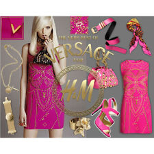 H&m VERSACE robe soie rose clous Embelli UK 10 EUR 36 US 6 Ltd Edition