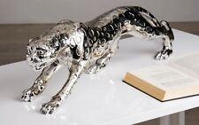 59216 Gepard aus Poly silber antikfinish Länge 80cm Höhe 20cm Leopard Raubkatze