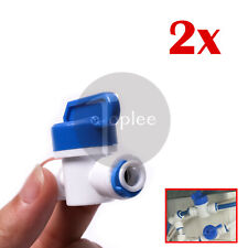 2Pc 1/4'' Inline Ball Valve Quick Connect Shut Off for RO Water Fitting