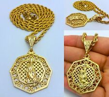 "MENS GOLD PRAYING HANDS PENDANT 4MM 30"" STAINLESS STEEL ROPE CHAIN NECKLACE"