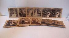 Antique UNDERWOOD Stereoscope Story Cards ☆ Set of 9 ☆ Mr & Mrs Newlyweds & Cook