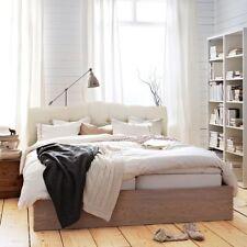 Queen full Upholstered Headboard bed frame Button Bedroom Furniture beige