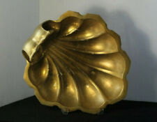 Heavy Large Vintage Mid Century Gilded Brass Nautical Scallop Shell Center Bowl