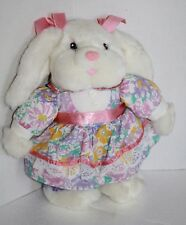 """Dan Dee 1994 EASTER BUNNY RABBIT 12"""" Stuffed Flower Plush Vtg Kmart Clover Hill"""