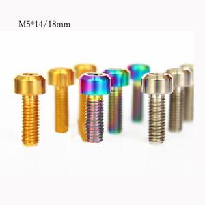 10pcs M5 x 14/18mm Titanium TC4 Cylindrical Head Screws Bolts Bicycle Screw
