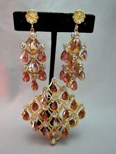 VTG Vendome Crystal Brooch Chandelier Earrings Cut Glass Flowers Patent # EUC!