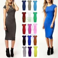 Womens Ladies Short Cap Sleeve Bodycon Jersey Stretch Pencil Midi Dress UK 8TO26