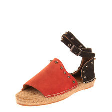 PIXY Leather Ankle Strap Espadrille Sandals Size 37 UK 4 US 7 Studded Pin Buckle