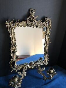 Antique Bronze Baroque Wall Mirror with Candle Holders Carolina Mirror Co.