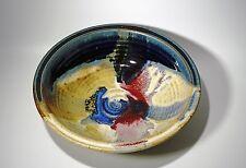 Ayers Vintage Stoneware Art Pottery Multi Color Glaze Studio Bowl, Gorgeous!