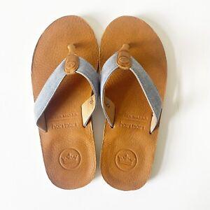Peter Millar Hari Mari Men's Cognac Chambray Blue Flip Flops Thong Sandals Sz12