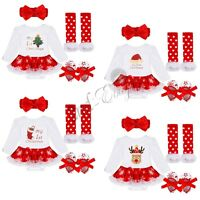 My Baby First Christmas Santa Girl Romper Fancy Tutu Dress Outfit Clothes Set