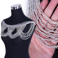Rhinestone Applique Tassel Chain Trim Beaded Fringe Sewing Dress Craft 15×14cm