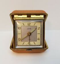 VINTAGE BRADLEY TRAVEL ALARM CLOCK CLAMSHELL GENUINE LEATHER CASE BROWN