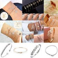 Women Gold Simple Love Heart Knot Chain Open Cuff Bangle Bracelet Jewelry Gift