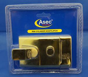 1 x ASEC Standard Rim Cylinder Night Latch 60mm in Brass. ***FREEPOST*** AS1713
