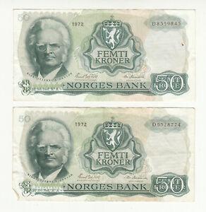 Norway 2x50 kroner 1972 circ. @ low start
