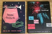 Philadelphia Music Festival 1951 and 1952 Event Programs