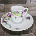 Violet Floral Flower Nippon T S Demitasse Tea Cup Saucer Hand Painted Vintage